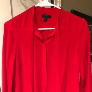 JCrew red Silk bottom up blouse
